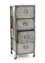 Four Drawer Industrial Bin Unit , Silver Metal