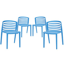 Curvy Dining Chairs Set of 4 in Blue