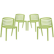 Curvy Dining Chairs Set of 4 in Green
