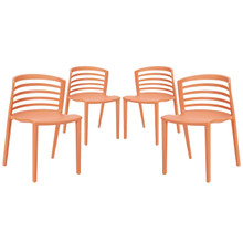 Curvy Dining Chairs Set of 4 in Orange