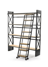 Loft Bookcase With Ladder , Brown Wood