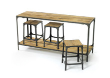 Console And Stool Package Set , Brown Wood