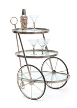 Miami Bar-Tea Cart , Silver Metal
