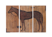 Equestrian Print , Brown Wood