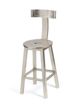 "26"" Seat Height Steel Finish Barstool , Silver Wood"