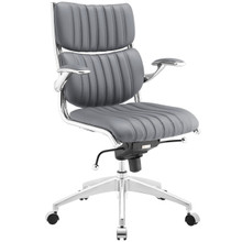 Escape Mid Back Office Chair, Grey Faux Leather