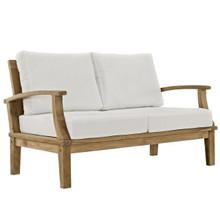 Marina Outdoor Patio Teak Loveseat, White Wood