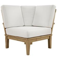 Marina Outdoor Patio Teak Corner Sofa, White Wood