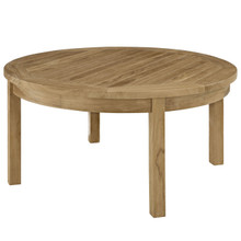 Marina Outdoor Patio Teak Round Coffee Table, Brown Wood