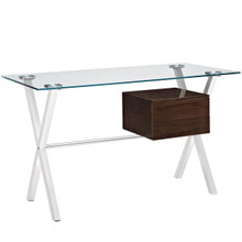 Stasis Office Desk, Brown Glass