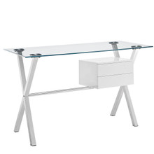 Stasis Office Desk, White Glass