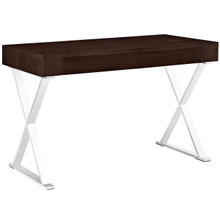 Sector Office Desk, Brown Wood