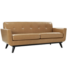 Engage Leather Loveseat, Brown