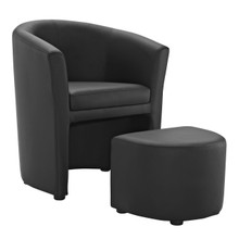 Divulge Armchair and Ottoman, Black Faux Leather