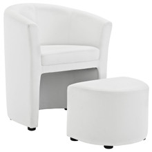 Divulge Armchair and Ottoman, White Faux Leather