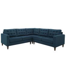 Empress 3 Piece Fabric Sectional Sofa Set, Navy Fabric