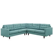 Empress 3 Piece Fabric Sectional Sofa Set, Blue Fabric