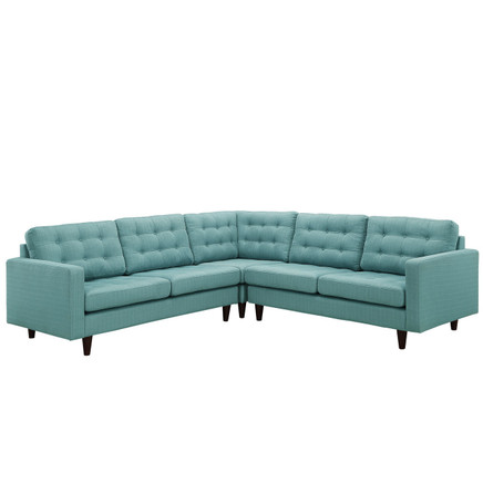 Empress 3 Piece Fabric Sectional Sofa Set Blue Fabric