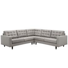 Empress 3 Piece Fabric Sectional Sofa Set, Light Grey Fabric