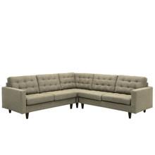 Empress 3 Piece Fabric Sectional Sofa Set, Oatmeal Fabric