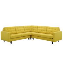 Empress 3 Piece Fabric Sectional Sofa Set, Yellow Fabric
