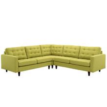 Empress 3 Piece Fabric Sectional Sofa Set, Green Fabric