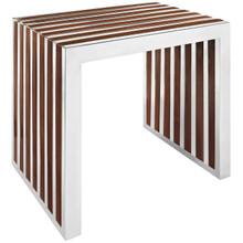 Gridiron Small Wood Inlay Bench, Brown Metal