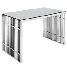 Gridiron Stainless Steel Desk, Silver Metal