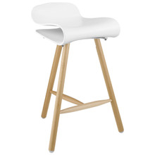 Clip Bar Stool, White Plastic