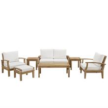 Marina 7 Piece Outdoor Patio Teak Sofa Set, White Wood