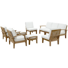 Marina 9 Piece Outdoor Patio Teak Sofa Set, White Wood