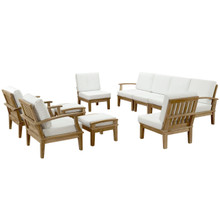 Marina 10 Piece Outdoor Patio Teak Sofa Set, White Wood