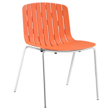 Trace Dining Side Chair, Orange Plastic