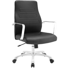 Depict Mid Back Aluminum Office Chair, Black Faux Leather