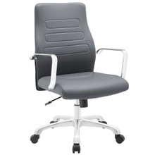 Depict Mid Back Aluminum Office Chair, Grey Faux Leather