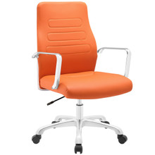 Depict Mid Back Aluminum Office Chair, Orange Faux Leather