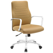 Depict Mid Back Aluminum Office Chair, Tan Faux Leather
