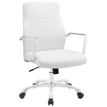 Depict Mid Back Aluminum Office Chair, White Faux Leather