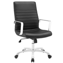 Finesse Mid Back Office Chair, Black Faux Leather