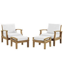 Marina 4 Pcs Outdoor Patio Teak Sofa Set, White Wood