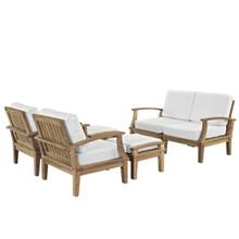 Marina 6 Piece Outdoor Patio Teak Sofa Set, White Wood