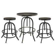 Sylvan 3 Piece Dining Bar Table Set, Black Metal