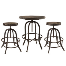 Sylvan 3 Piece Dining Bar Table Set, Brown Metal