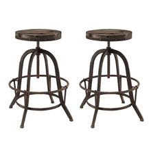 Collect 2 Piece Dining Bar Stool Set, Brown Metal