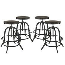 Collect 4 Piece Dining Bar Stool Set, Black Metal
