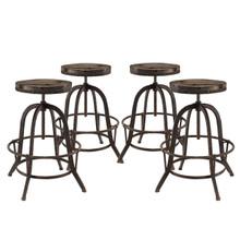 Collect 4 Piece Dining Bar Stool Set, Brown Metal