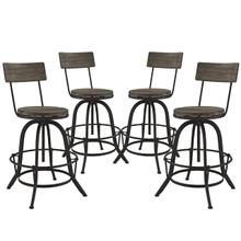 Procure 4 Piece Dining Barstool Set, Brown Metal