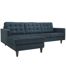 Empress Left-Arm Sectional Sofa, Navy Fabric