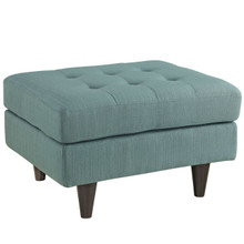 Empress Upholstered Ottoman, Blue Fabric