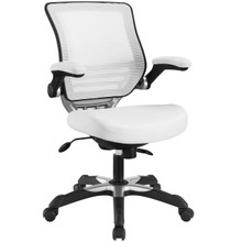 Edge Vinyl Office Chair, White Fabric